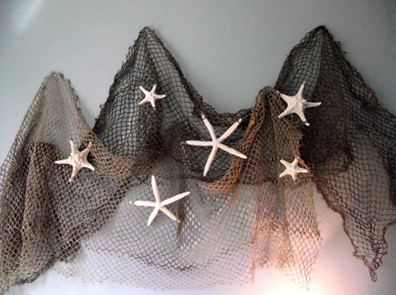 Deluxe coastal beach nautical home decor starfish for Fish net decoration ideas