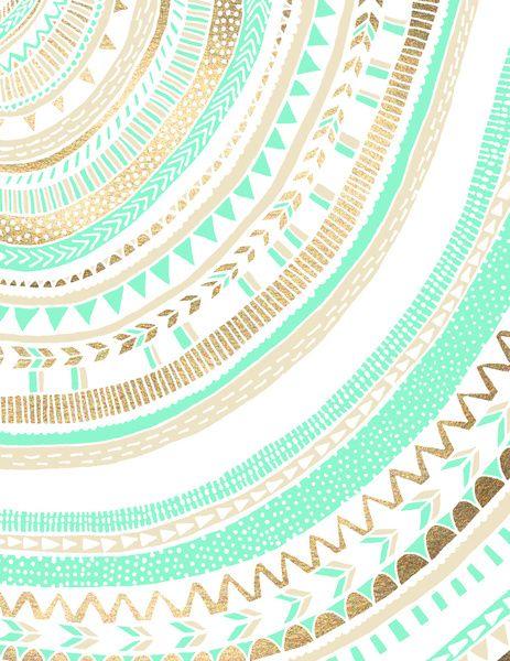 Mint Gold Tribal Art Print Mandalas All Love And Inspiration