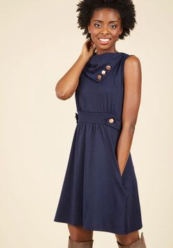 Coach Tour A-Line Dress in Bleu. Sometimes a dress is so magical, it makes you long for somewhere special and new to wear it. #blue #modcloth