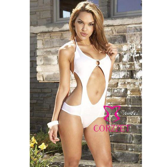 4028 white sexy halter one piece bikini women's hot swim suit $7.68
