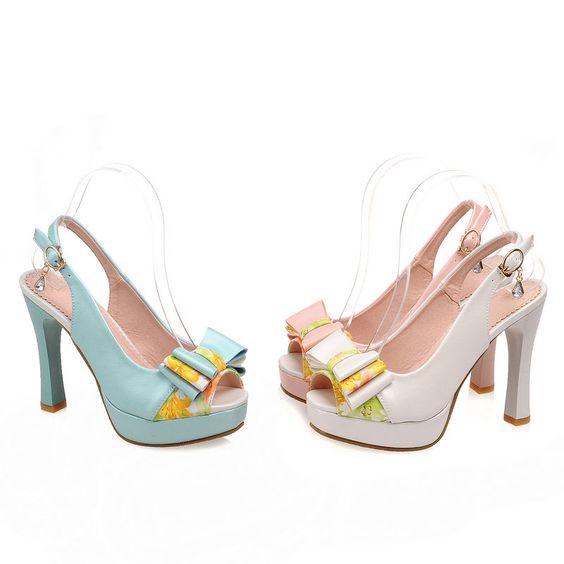 Hot Women'S Sandals  Faux Leather Shoes Platforms Bowknot Peep Toe Bd2390