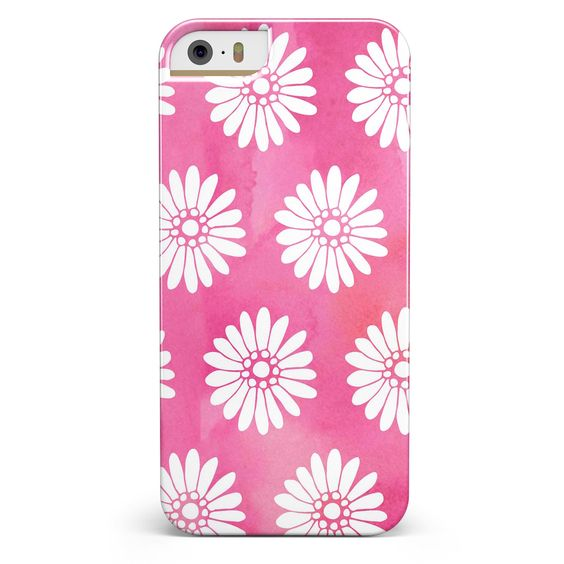 The Pink Watercolor Grunge Surface with White Floral Pattern iPhone 5/5s or SE Candy Shell Case
