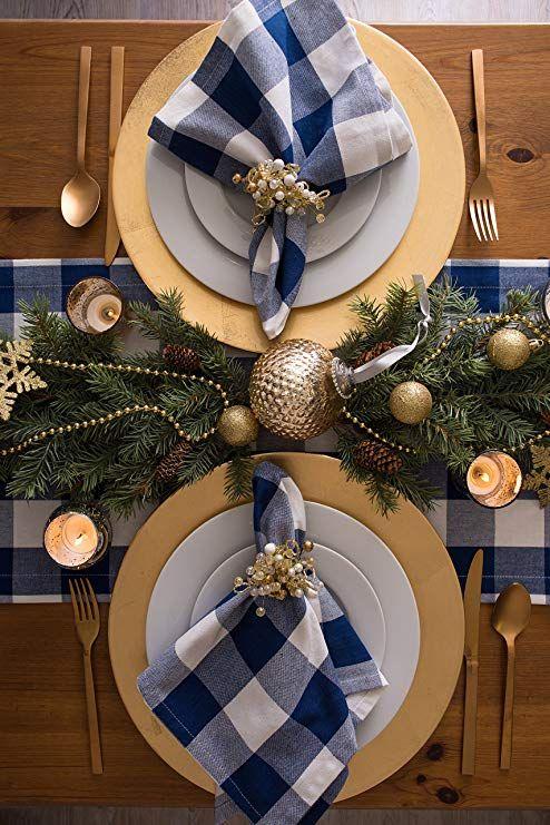Navy Buffalo Check Runner Gold Christmas Decorations Christmas Table Settings Christmas Table