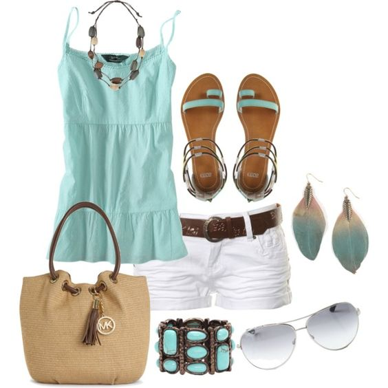 summer outfit, created by bonnaroosky on Polyvore: super cute tank, longer shorts and this is way cute