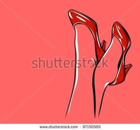 Sexy shiny red patent leather high heels shoes - stock vector id 97150505