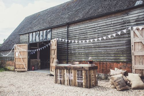 Rustic hand-painted wedding bars for hire