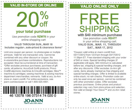 JoAnn Fabrics: 20% off Printable Coupon - Take 20% off your entire purchase in-store with printable coupon at Jo-Ann Fabric