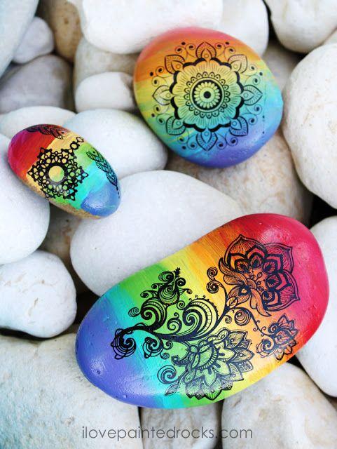 How To Paint Rainbow Mandala Rocks Mandala Rocks Rainbow Mandala Painted Rocks Kids