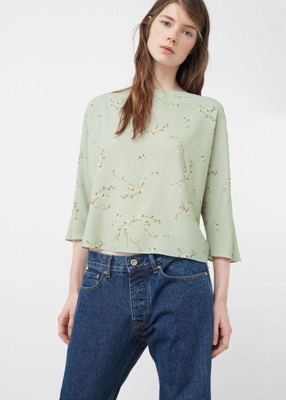 Blouse met bloemetjesprint - Overhemden voor Dames | MANGO Nederland