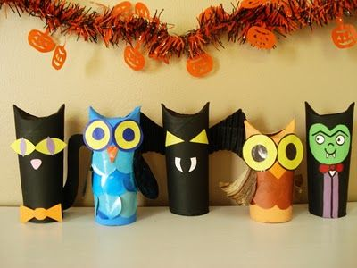 cute!! creatures made from toilet roll tubes.