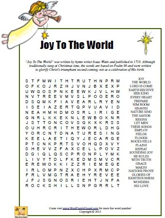 Joy To The World Word Search Christmas Printable Puzzle Carols Puzzles Pinterest