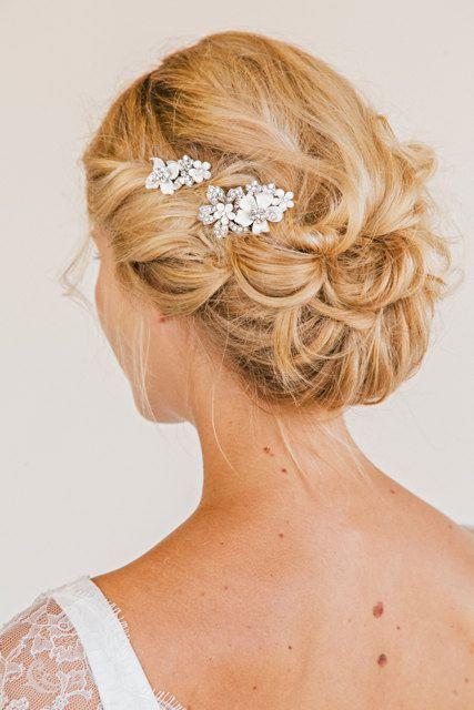 ALEXANDRA Rhinestone Floral Comb Set bridal comb by UntamedPetals, $198.00