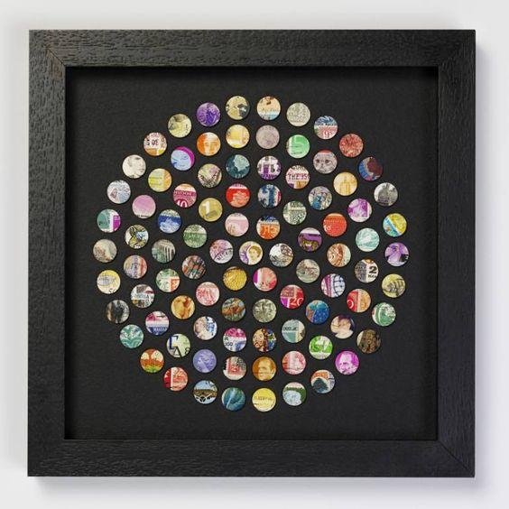 "Saatchi Art Artist Amelia Coward; Collage, ""Circle of vintage stamps"" #art"