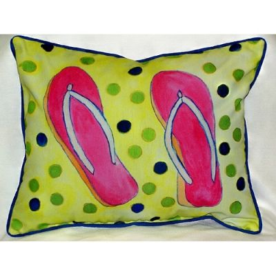 Flip Flops Art Outdoor Pillow 15in x 19in by Betsy Drake