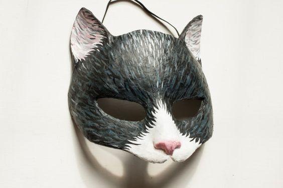 noir et blanc chat masque papier mache animaux masque d guisements party masque halloween visage. Black Bedroom Furniture Sets. Home Design Ideas