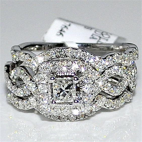 Princess cut wedding set Engagement Ring & 2 matching bands unique vintage inspired 1.4ct