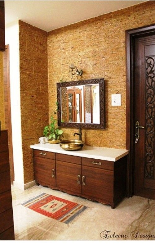 Living And Dining Area Wash Basin Area Cabinets Wooden Mirror