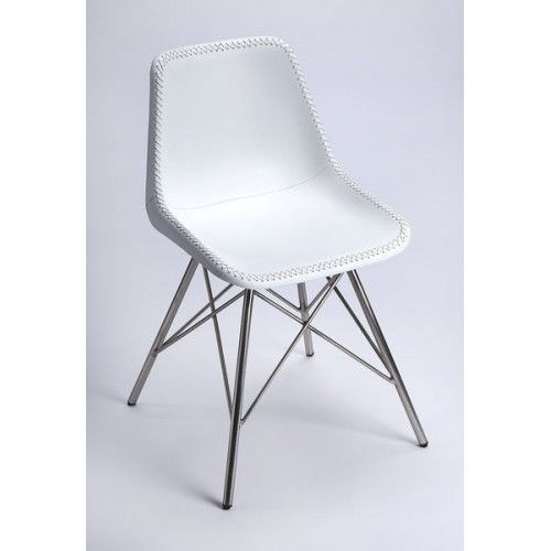 White Stitched Leather Mid Century Silver Legs Dining Chair