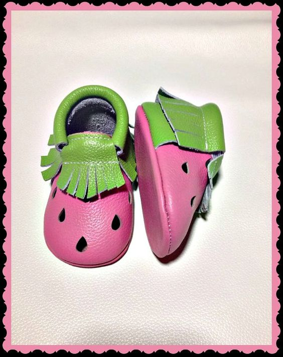 little leather watermelon print moccasins