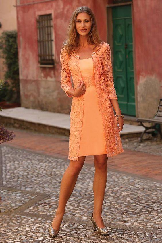 Wishesbridal Formal Strapless Knee Length Orange #Lace Sheath Column #MotherOfTheBrideDress With Jacket B2lr0028