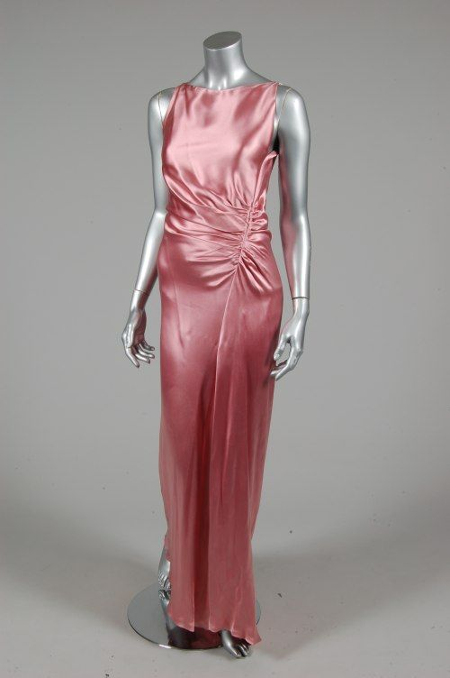 Gucci rose satin 30s inspired evening gown, probably early 2000s, fastened by hooks over the shoulders, with drapes to right hip, lined in pink chiffon