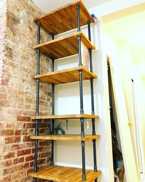 Oak Butcher Block Vinyl Lp Shelf Shelves Standing Desk Shelf Desk Shelves