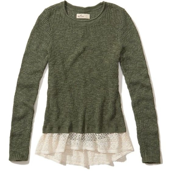 Hollister Lace Hem Pullover Sweater ($40) ❤ liked on Polyvore featuring tops, sweaters, hollister, olive, lace sweater, sweater pullover, olive top, lacy tops and olive green sweater