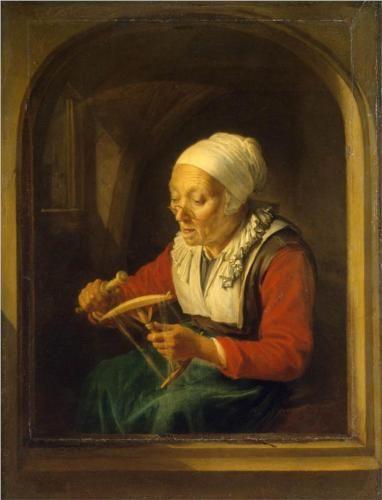 Gerrit Dou, Oude vrouw die draden afwikkelt, 1660-1665, olieverf op paneel, 32 x 23 cm.: