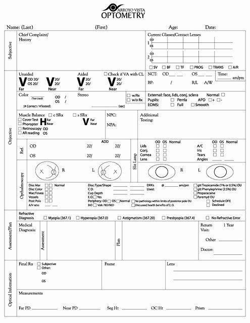 Eye Exam Forms Template Lovely Exam Form Copyright Arroyo Vista