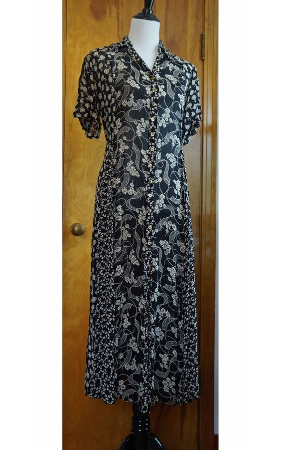 Boho Flowy Long Maxi Dress, Black and Cream Floral, Adjustable Tie Back Waist, Patchwork Skirt, Hippie, Bohemian, Grunge, 90s by Have2Shop on Etsy