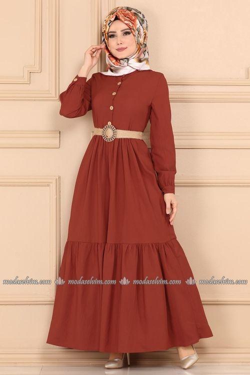 Modaselvim Elbise Hasir Kemerli Tesettur Elbise Ast3014 Kiremit The Dress Islami Giyim Elbise