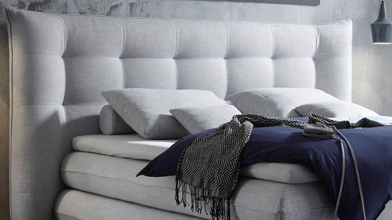 Perfect Boxspringbett MILFORD Stoff silber mit Topper x cm Einrichtungsideen Pinterest