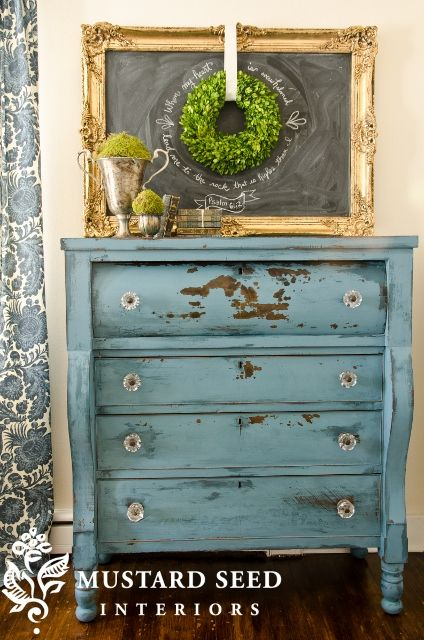 Miss mustard seeds, Distressed dresser and Mustard seed on Pinterest