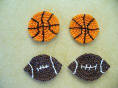 ⚾ 🏈 Aplique de Bolas em Crochê - /  ⚾ 🏈  Apply with Balls at Crochet -