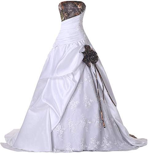 DINGZAN White Camo and Lace Mermaid Wedding Dresses for Bride Prom Gowns Long