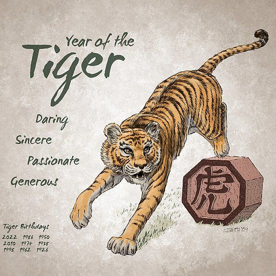 Year of the Tiger Calendar (white) | Chinese zodiac tiger, Year of the tiger,  Tiger zodiac
