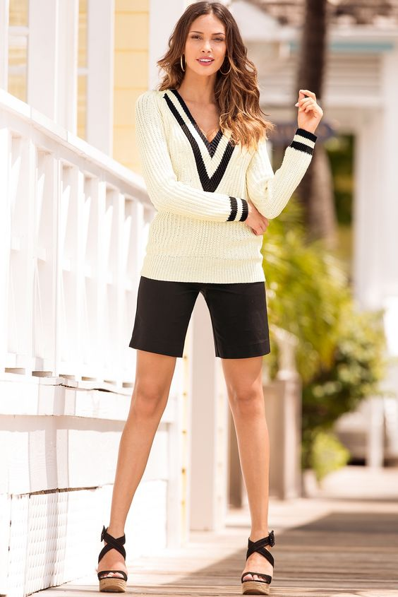 Twill shorts & Cable Knit Sweater / Boston Proper