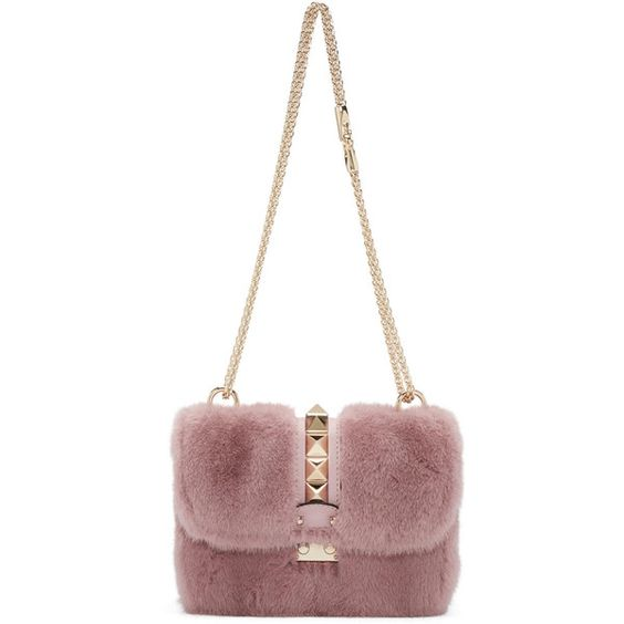 Valentino Pink Fur Small Lock Shoulder Bag ($3,550) ❤ liked on Polyvore featuring bags, handbags, shoulder bags, pink, pink handbags, fur purse, locking purse, valentino handbags and pink purse