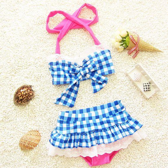 meninas do bebê roupas infantis de seleção Imprimir biquíni xadrez swimwear miúdos atam maiô biquini infantil