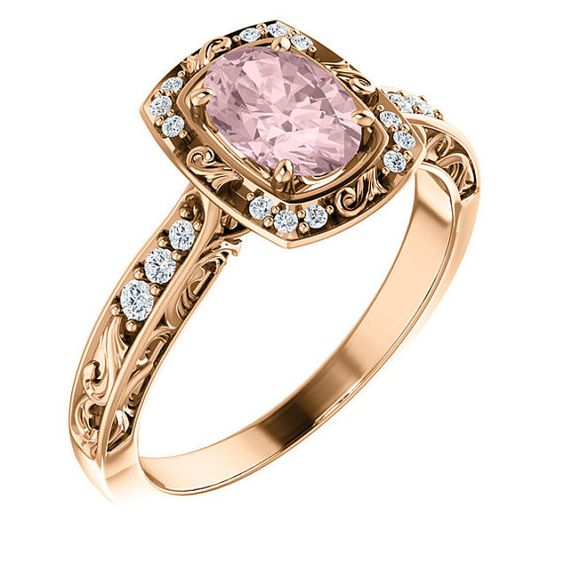 Unique Diamond Halo Engagement Ring 14K Rose Gold Vintage Style Choose Mo