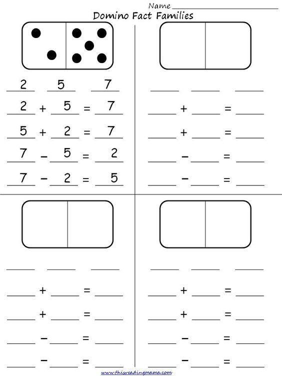 math worksheet : math gr1 4 pinterest domino fact families student activity sheet  : Fact Family Math Worksheets