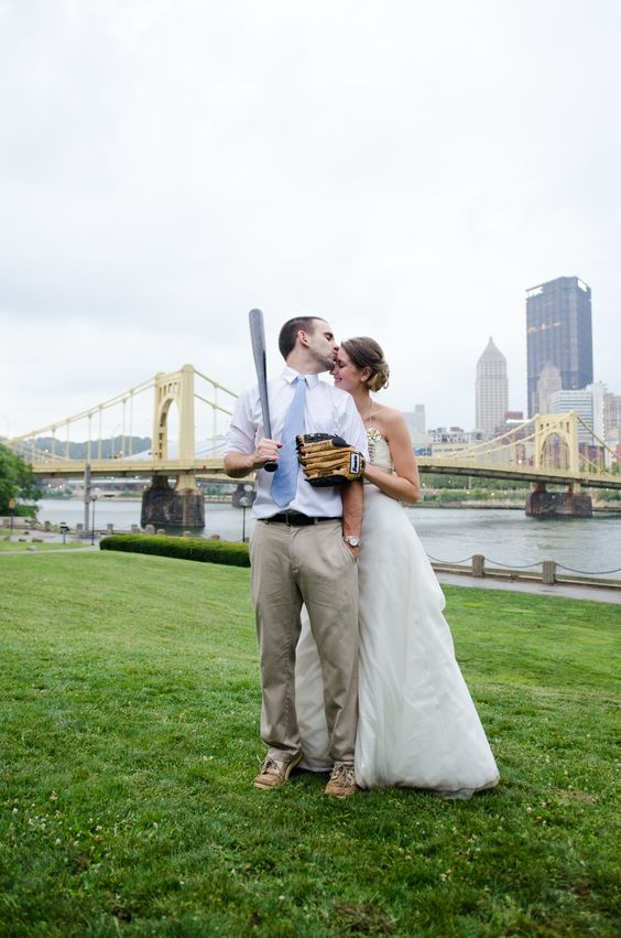 Pittsburgh Wedding Encore Rock the Dress Baseball Bridge Photo Session by Sewickley Photography www.sewickleyphotography.com