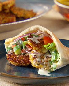 These fried vegetarian patties can be served in salads or pita sandwiches.: Falafel Recipe, Vegetarian Recipe, Martha Stewart, Falafel Martha, Pita Pocket