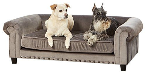 Cheap Enchanted Home Pet Manchester Velvet Tufted Pet Sofa In Grey With Images Pet Sofa Blue Dog Bed Dog Store