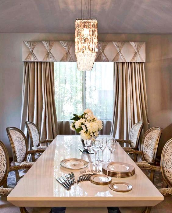 Transitional Dining Room With Art Deco Chandelier Custom Cornice With Pinched Sashes And Traversing Dra Elegant Dining Room Home Curtains Curtains Living Room