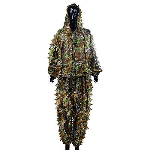 Camuflaje Woodland Traje etc hojas de camuflaje de bosque ropa para adultos militar 3d Camuflaje francotirador militar ropa para caza tiro Airsoft vigilancia Vida Silvestre Fotograf/ía g
