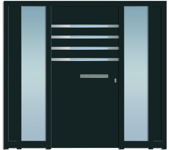 Sternstunden Eingangstüre SHAM 1 - Aluminiumtüre mit 2 Seitenteilen außen in grau. Besuchen Sie unseren Schauraum in Gramastetten - dort haben wir einige unserer Haustürmodelle ausgestellt. #Fensterschmidinger #doors #türen #alu #gramastetten #oberösterreich