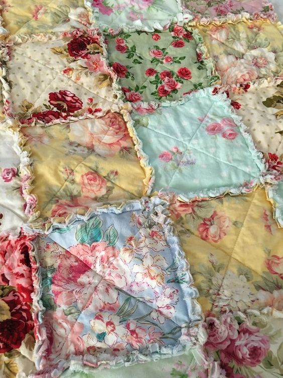 Shabby Chic baby quilt, rag quilt. Perfect size - it can be used in a crib, bassinet, stroller or car seat. Its the perfect quilt to bring on an outing or to decorate your nursery. Assorted floral cotton fabrics and organic cotton batting 42 x 42 Made to a Order Please allow 2-3 weeks