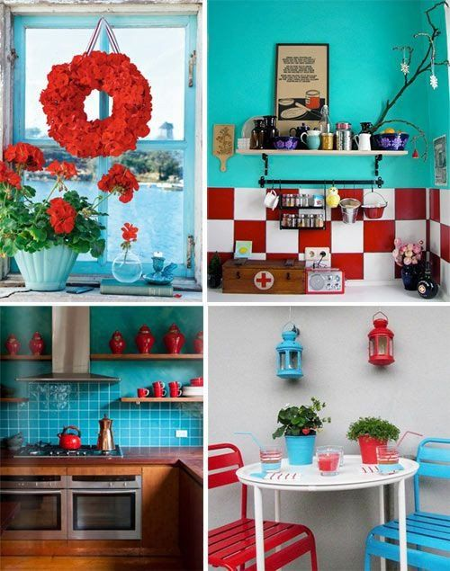 24 Lovely Red And Teal Kitchen Decor In