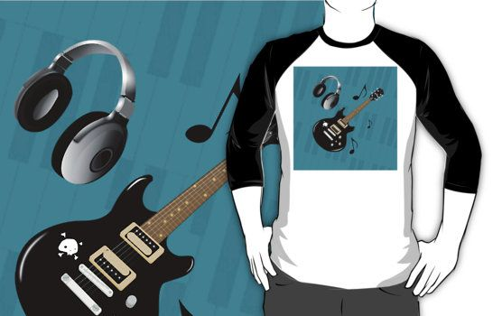 #BluePianoKeys #BlackElectricGuitar #BaseballTshirt by #MoonDreamsMusic